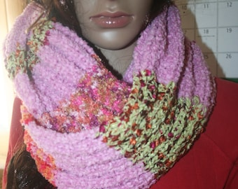 """Knitted Scarf Raspberry Sherbet Pink Stripe 59"""" not counting fringe , Polyester Mixed Fibers. Easy Care. Bohemian Scarf"""