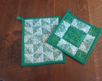 Green Quilted Pot Holders