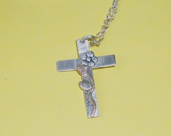 Silver Cross with a Flower