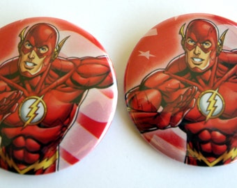 10 boutons recyclés Flash II - II Party Favors - Flash II Birthday Party - Flash faveurs - Flash Party boutons - Birthday Party