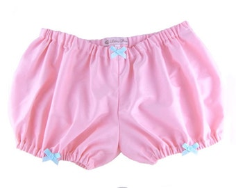 JULY PREORDER Lolita Bloomers pink with bows sateen fabric shorts cotton underwear lingerie drawers pajamas nightwear sleepwear cute
