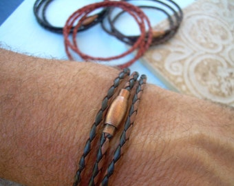 Thin Triple Wrap Braided Leather Bracelet with Copper Toned Brass Magnetic Clasp, Mens Jewelry, Mens Bracelet, Leather Bracelet, Leather