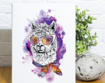 Hipster Llama Canvas Wall Art