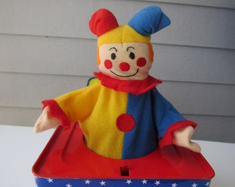 """Vintage 1990s Schylling Clown Jack In The Box Toy Music Box Plays """"Pop Goes the Weasel""""  2908"""