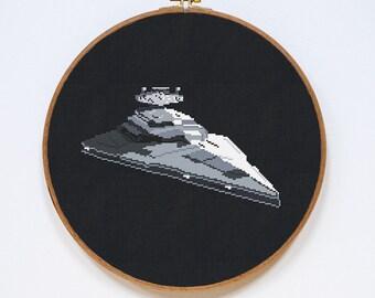 Star Destroyer, Star Wars Spaceship Cross Stitch Pattern, StarWars Cross Stitch Easy Chart, PDF Format, Instant Download
