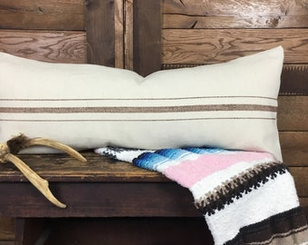French Grain Sack Style Lumbar Pillow Cover