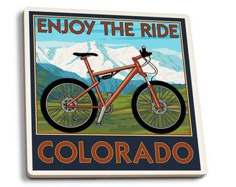 Colorado - Enjoy the Ride Mountain Bike LP Artwork (Set of 4 Ceramic Coasters)