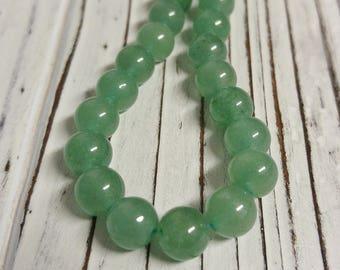 Green Aventurine, Natural Green Aventurine Beads Strands, Round, Light Green, Stone Beads, DIY, Overstock, Destash, 8 mm - 1 Strand
