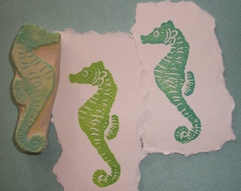 Seahorse Rubber Stamp Hand Carved