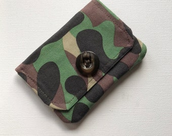 Credit Card Holder, Camo Fabric, Gift Card Holder, Business Card Holder, Gift for him, Gift for her, Minimalist Wallet, Handmade
