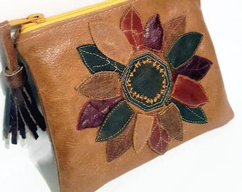 Handmade Leather Make Up bag, Leather Make up pouch, Flower make up pouch,Tassle bag,Toiletries Bag, Leather cosmetic bag, Brown Leather bag