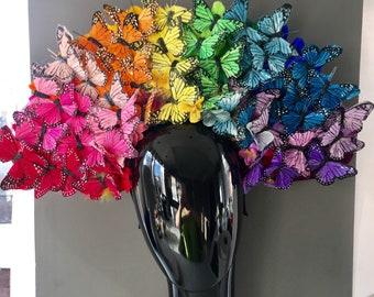 Derby Headpiece- Monarch Butterfly Fascinator - Butterfly Headdress- Spring Fascinator- Derby -Tea Party Hat- Headpiece- Contest Winner