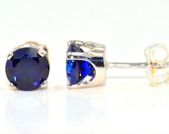 Blue Sapphire Round Stud Earrings .925 Sterling Silver Rhodium Finish