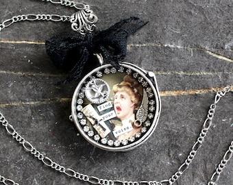 Find Your Voice Assemblage Necklace shadowbox shrine pendant jewelry statement inspire vintage antique victorian empowerment women resist