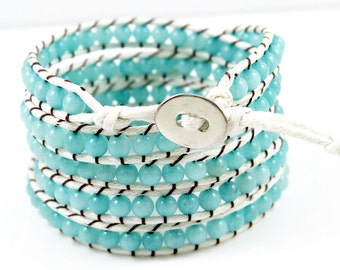 Five Tiered Wrap Light Blue Beaded Bracelet on White Waxed Rope and Silver Button Closure