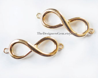 One 18kt Gold Vermeil Infinity Loop Charm Connector with Closed Loop 24 x 8mm