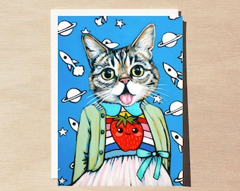 Lil Bub - Greeting Card - Blank Inside - Cats In Clothes