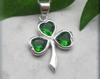 Shamrock Necklace, St Patricks Day, Good Luck Charm, Irish Jewelry, Celtic Necklace, Sterling Silver, Clover, Green Cubic Zirconia