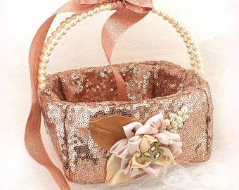Rose Gold Flower Girl Basket, Sequin Wedding Basket, Square Flower Girl Basket, Pearl Handle Girl Basket, Elegant Flower Girl Basket