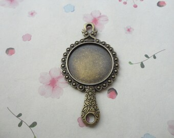 20pcs antique brass Metal Charms-metal mirror frame charm--27mm inside--double sides--CP475