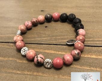 """Natural Stone Elastic Bracelet - """"Through Rose-Tinted Glasses"""" (Rhodonite, and Lava Rock)"""
