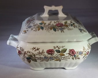 Ironstone Wedgewood floral covered dish