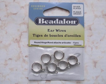 6pcs Beadalon Silver Plated Ear Wires Round Hinge