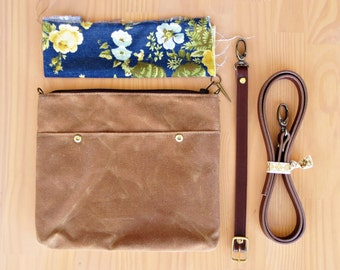 Waxed Canvas Crossbody Bag in Saddle Brown with Vintage Style Floral Lining and Leather Strap, Waxed Canvas Cross Body Purse, Made in USA,