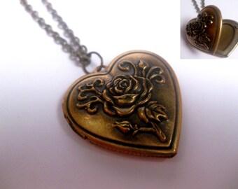 Heart Locket - Rose Engraved - Bronze - Photo Locket - Christmas Gift - Custom Chain Length - Valentines Day