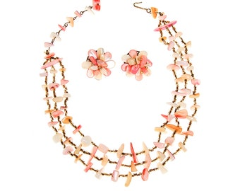 Mother of Pearl Pink, Peach, and Gold Shell Necklace, Earring Set, Multi Strand, Clip Earrings, Made in Japan
