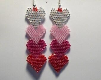 4 Heart Beaded Earrings