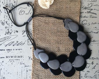 Black and gray collar Multi layer beaded necklace Mothers day from husband Tagua nut jewelry Ombre style Mother of the groom gift from bride