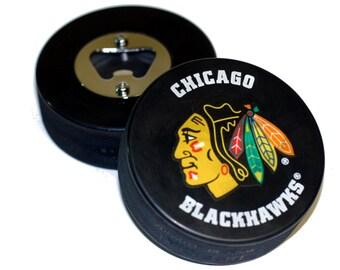 Chicago Blackhawks NHL Hockey Puck Bottle Opener