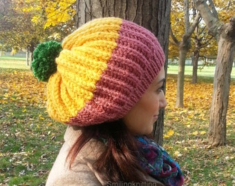 Ponpon Knit Hat, Winter Accessories, Women Hat, Hand Knitted Hat, Slouchy Hat, Beret, Fall Colors, Beanie