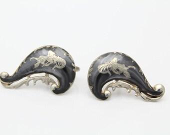 Vintage SIAM Sterling Silver Black Niello Dancer Screwback Earrings. [2080]