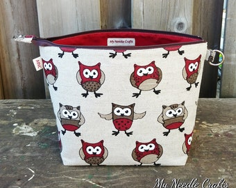 Sock Knitting Project Bag in Red Owl Print Linen, Zippered Wedge Bag, Knitting Bag, 1-2 skein size