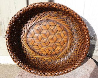 GORGEOUS Antique Japanese ikebana bamboo basket