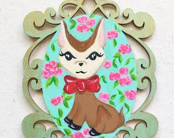 Vintage Inspired Deer Fawn Wooden Ornament Wall Art