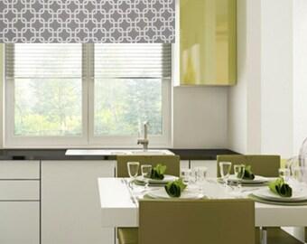 Modern Geometric Window Valance  Gotcha  Storm Grey/  Custom Sizing Available!