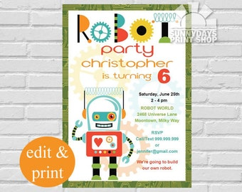 Robot Invitation | Robot Birthday Party Invitation, Robot Party, Robots, Lets Go Nuts Friends - INSTANT DOWNLOAD