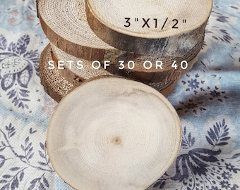 """Wood slices, 3""""x1/2"""" aspen rounds, natural tree slabs, no bark, raw material, Rustic Wedding decor, coasters, DIY craft ornaments, IN-STOCK"""