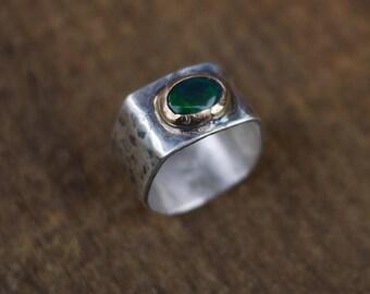 Green Opal Ring, Blue Opal Ring, Size 7.5,  Welo Opal Ring, Black Opal Ring, Fire Opal Ring, October Birthstone, Gold Ring