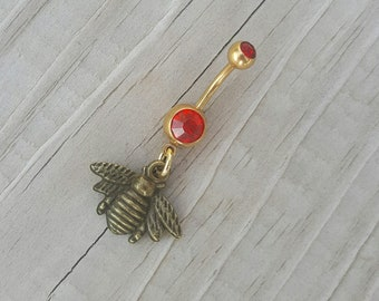 Bumble Bee Belly Button Ring,Gold Navel Ring, Dangle Belly Ring, Body Piercing, Bee Charm, Body Jewelry, 14g Barbell.