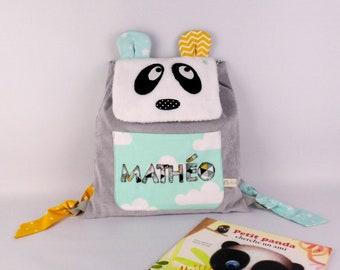 Sac à dos bébé panda personnalisé prénom Mathéo sac enfant maternelle crèche gris vert menthe jaune moutarde personnalisable cadeau bapteme