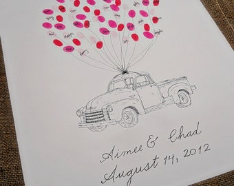 Old Truck Wedding Thumbprint Guestbook- Medium Size Fits 90-150 Thumbprints