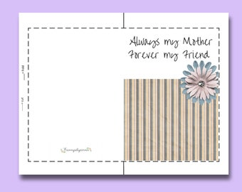 Mothers day, Mothers day card, printable card, floral card, card with quote, mothers day gift, card for mum, mom Card, Digital card
