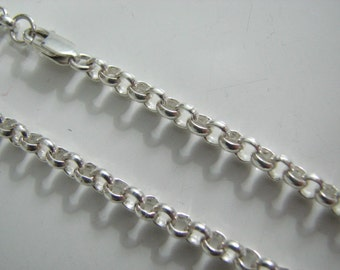 4mm Rolo Chain Necklace 20 inch 925 Sterling Silver with Lobster Clasp, Highest Quality Available