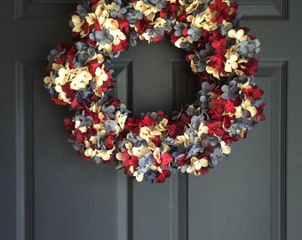 Red White Blue Wreath | Patriotic Wreath | 4th of July Wreath | Americana Wreath Decor | Blended Hydrangea Wreath | Summer Wreaths |