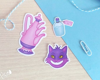 Set of 3 handmade vinyl Alice in Wonderland stickers (teapot, flask and Cheshire cat)