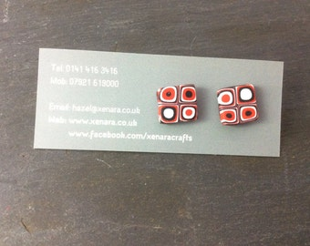 Red, black and white stud earrings - Polymer clay earrings